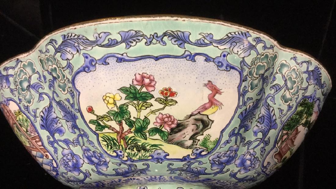 Vintage Chinese Enamel Pedestal Dish - 10