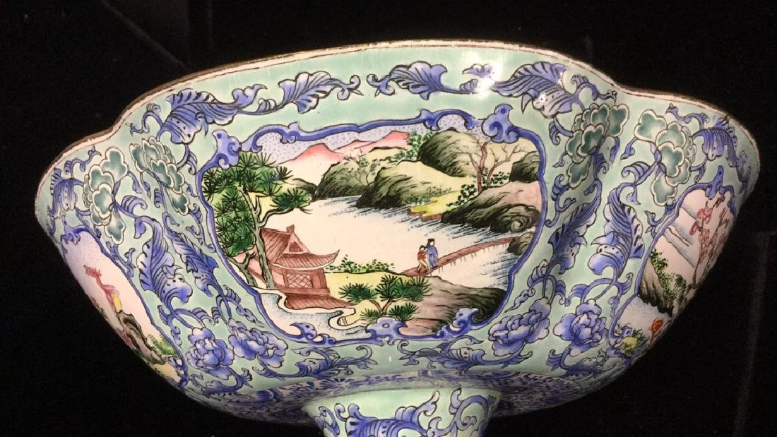 Vintage Chinese Enamel Pedestal Dish - 11