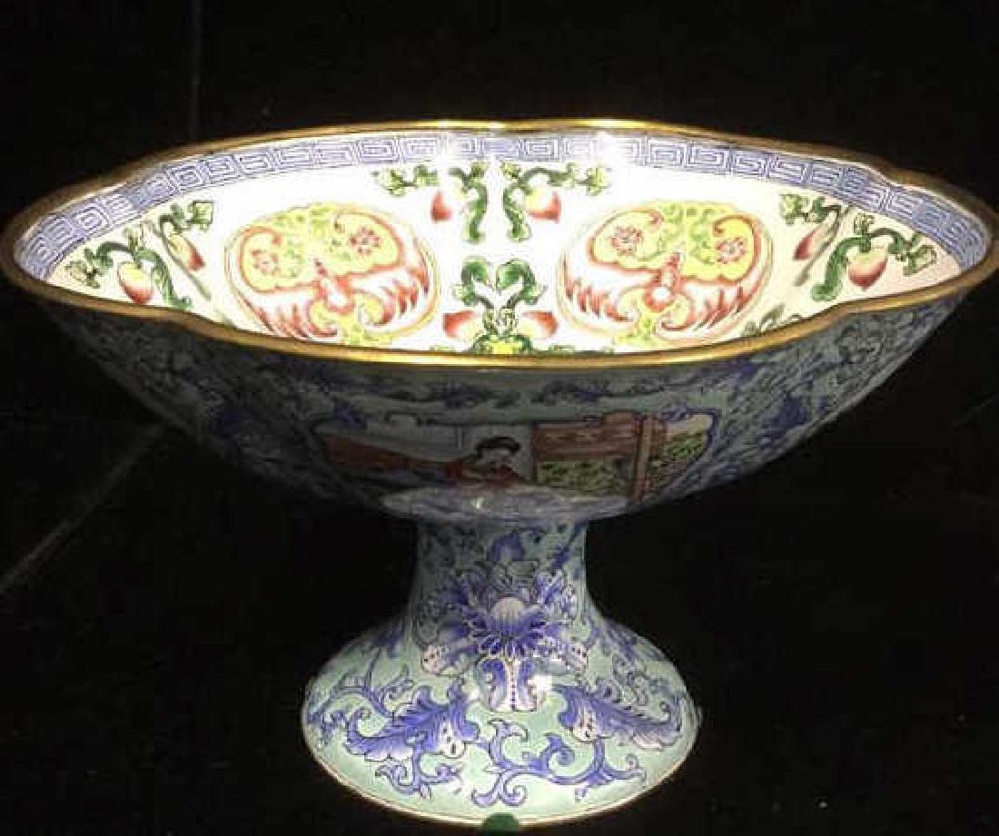 Vintage Chinese Enamel Pedestal Dish - 3