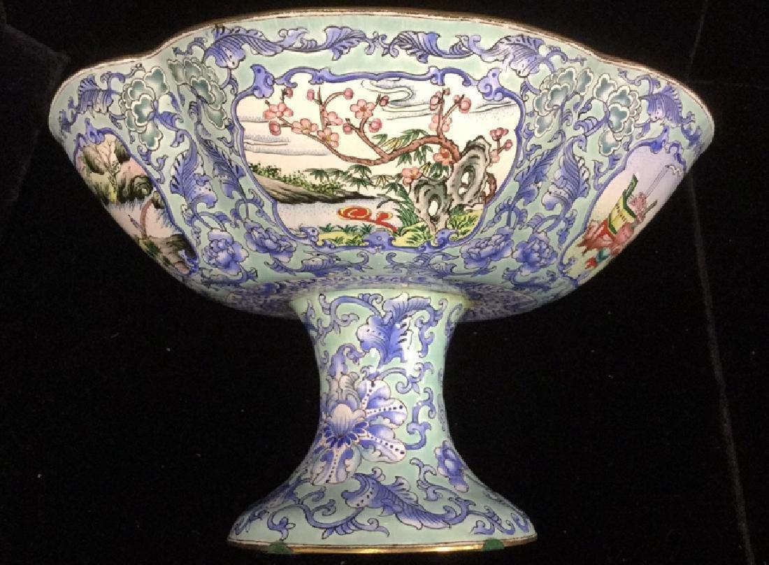 Vintage Chinese Enamel Pedestal Dish - 7