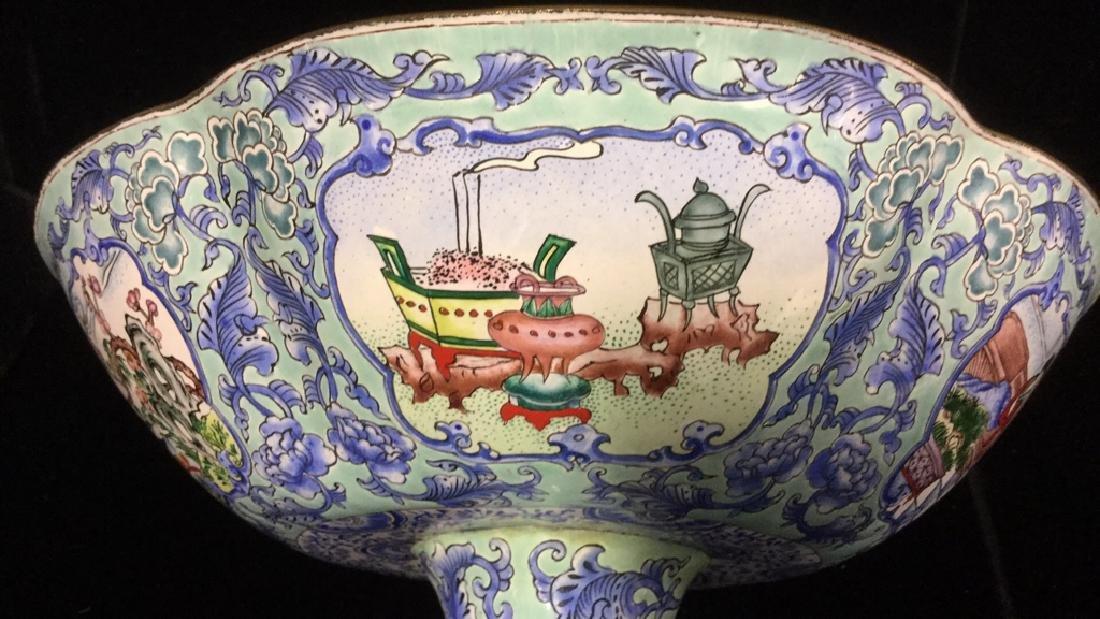 Vintage Chinese Enamel Pedestal Dish - 8