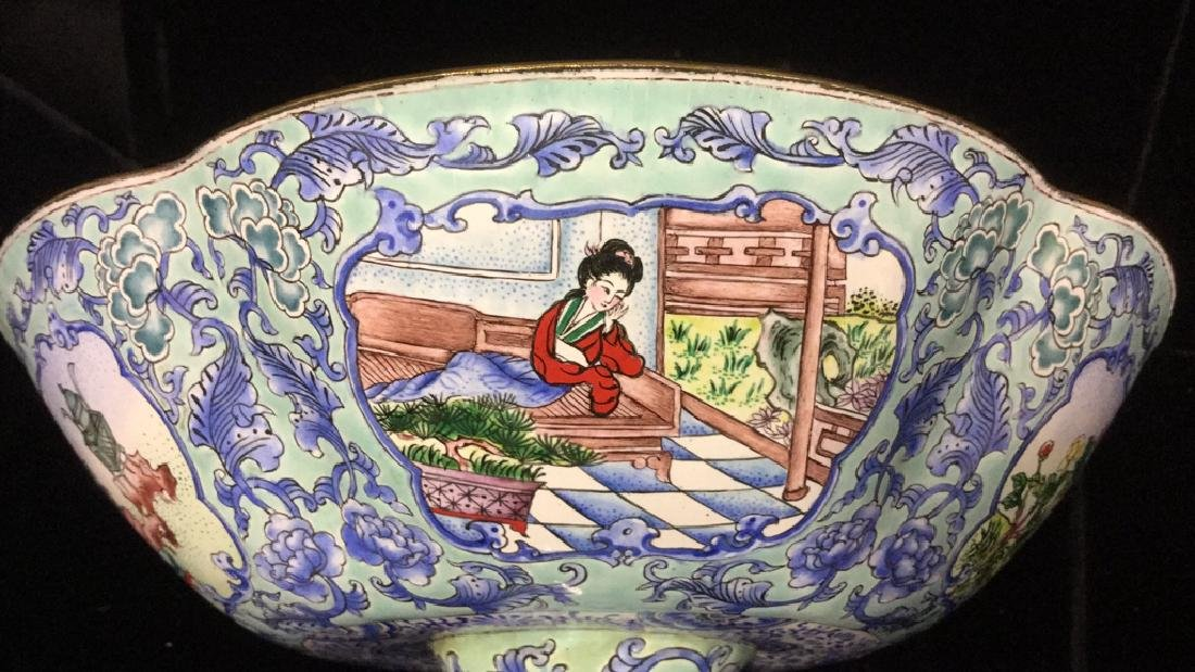 Vintage Chinese Enamel Pedestal Dish - 9