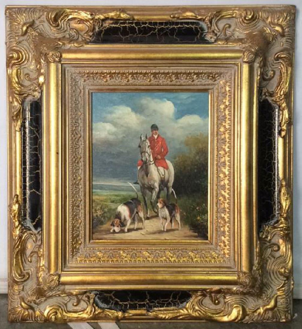 Ornately Framed Man on Horse Oil Painting.