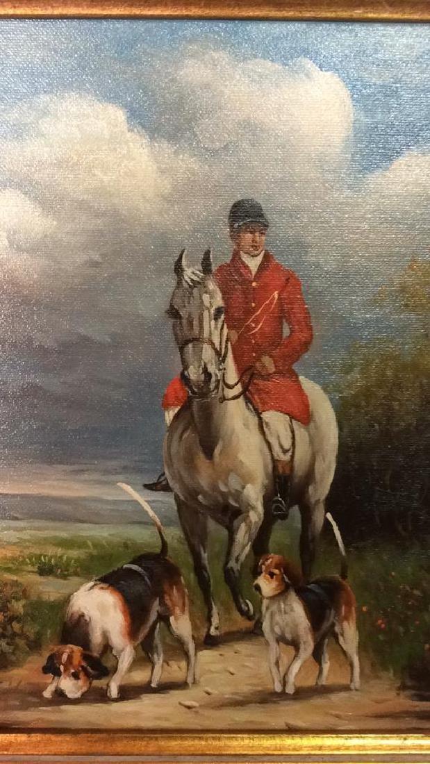 Ornately Framed Man on Horse Oil Painting. - 2