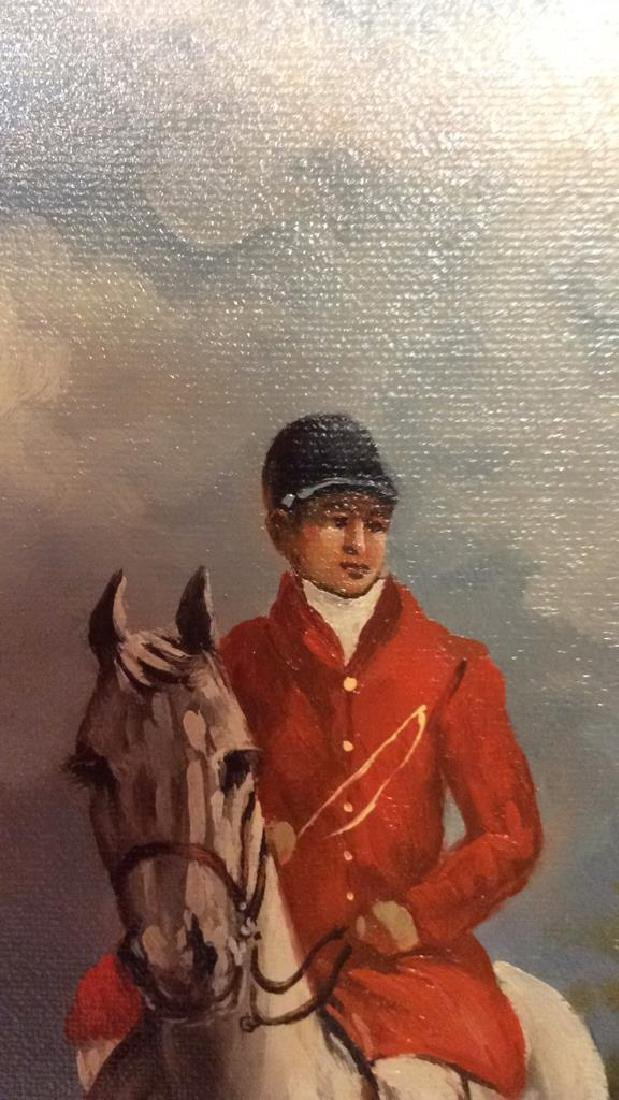 Ornately Framed Man on Horse Oil Painting. - 3