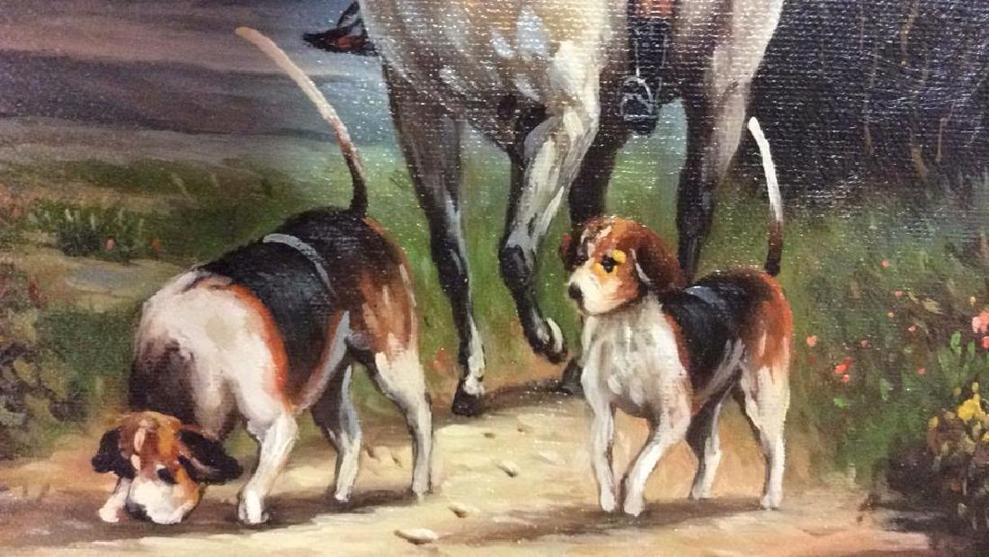 Ornately Framed Man on Horse Oil Painting. - 4