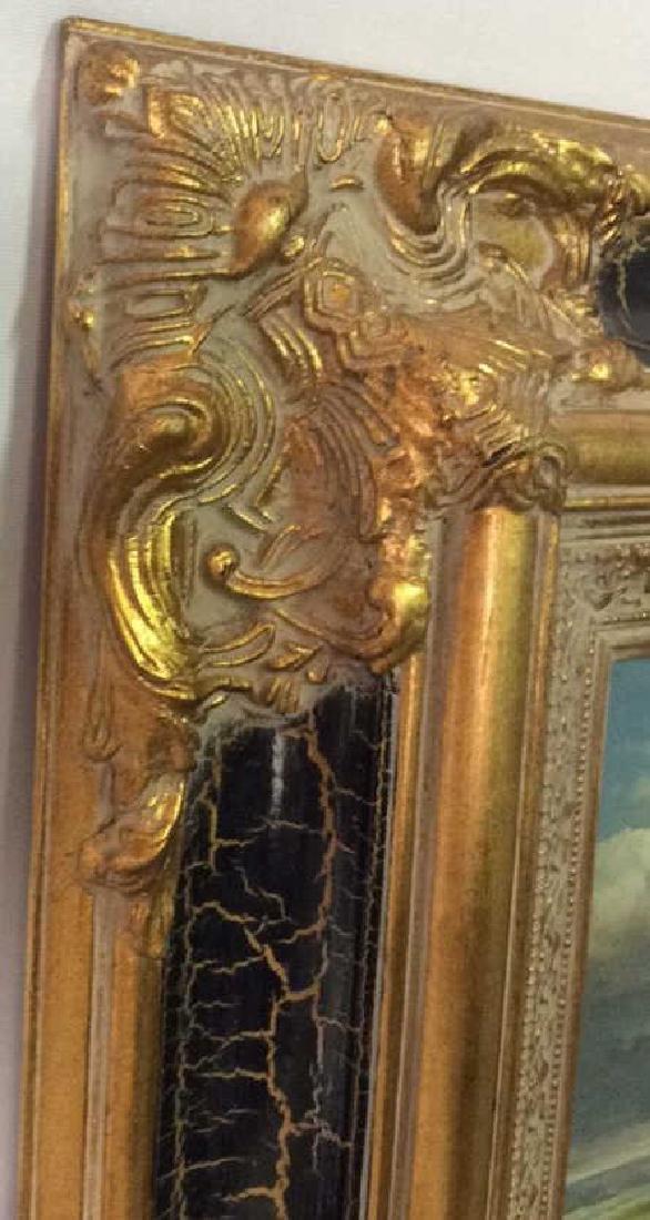 Ornately Framed Man on Horse Oil Painting. - 6