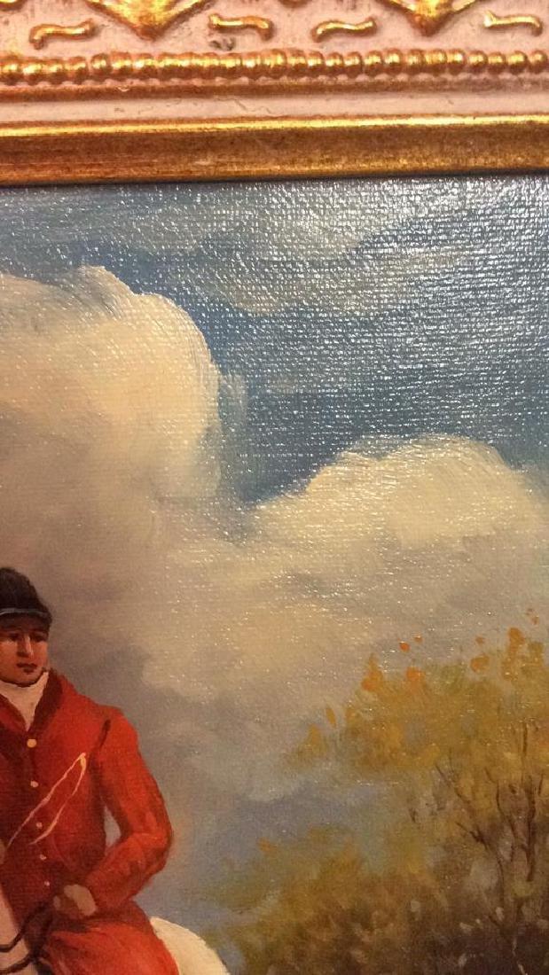 Ornately Framed Man on Horse Oil Painting. - 8