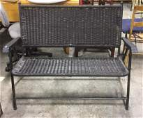 Indoor/Outdoor Metal Frame Wicker Bench