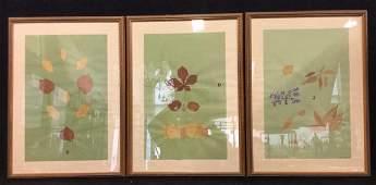 Set 3 Framed & Signed Mixed Media Leaf Wall Art