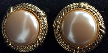 GIVENCHY Estate Gold Tone Pearl Finish Earrings