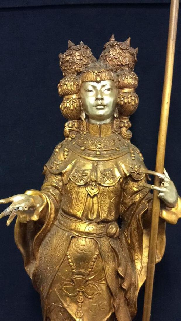 Gold Toned Painted Oriental Female Statue - 2