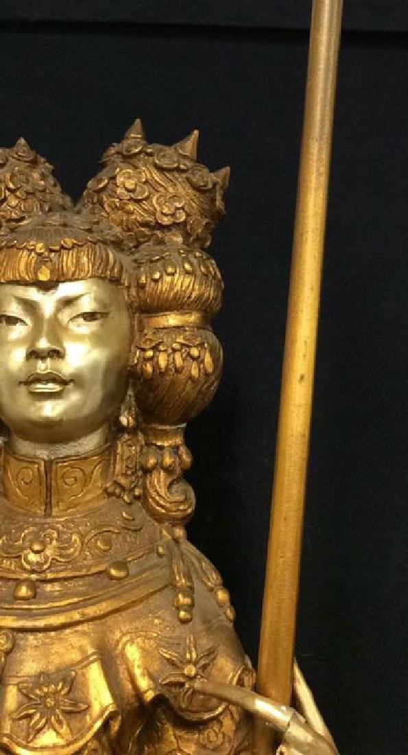 Gold Toned Painted Oriental Female Statue - 3