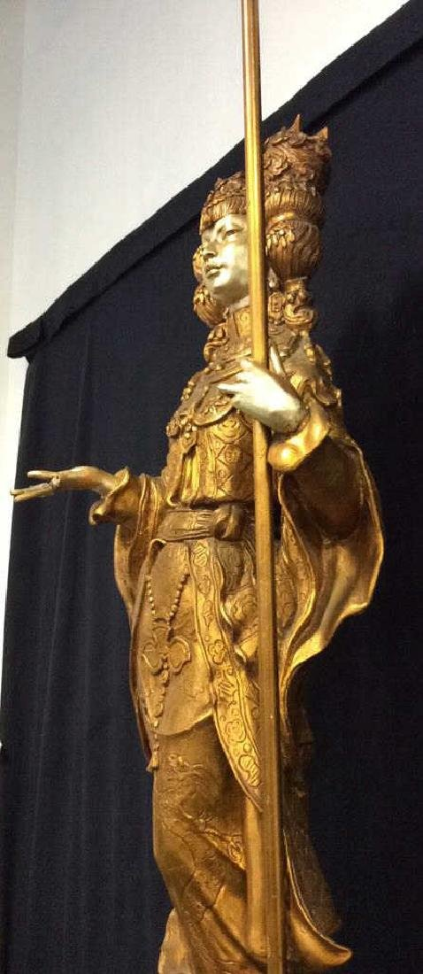 Gold Toned Painted Oriental Female Statue - 6