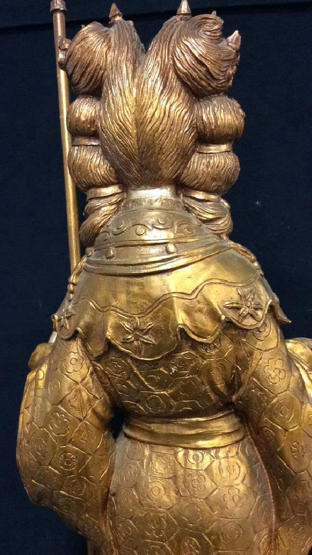 Gold Toned Painted Oriental Female Statue - 9