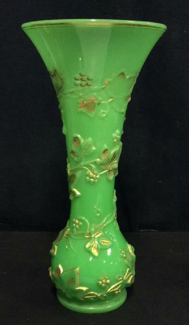 Vintage Green Opaline Art Glass Vase