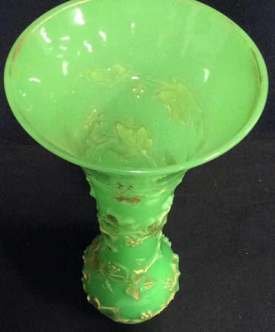 Vintage Green Opaline Art Glass Vase - 5