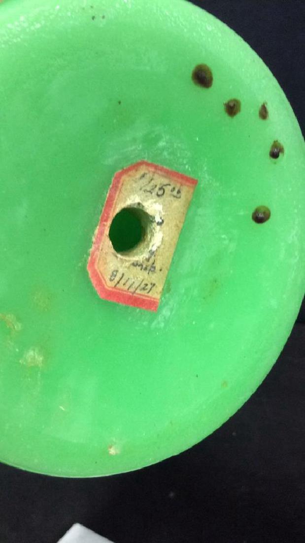 Vintage Green Opaline Art Glass Vase - 8