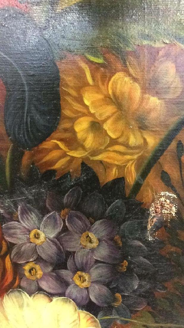 Framed Floral Still Life Print On Canvas W Glaze - 10