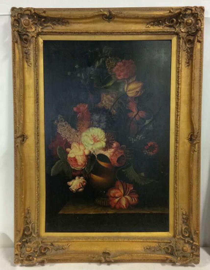 Framed Floral Still Life Print On Canvas W Glaze