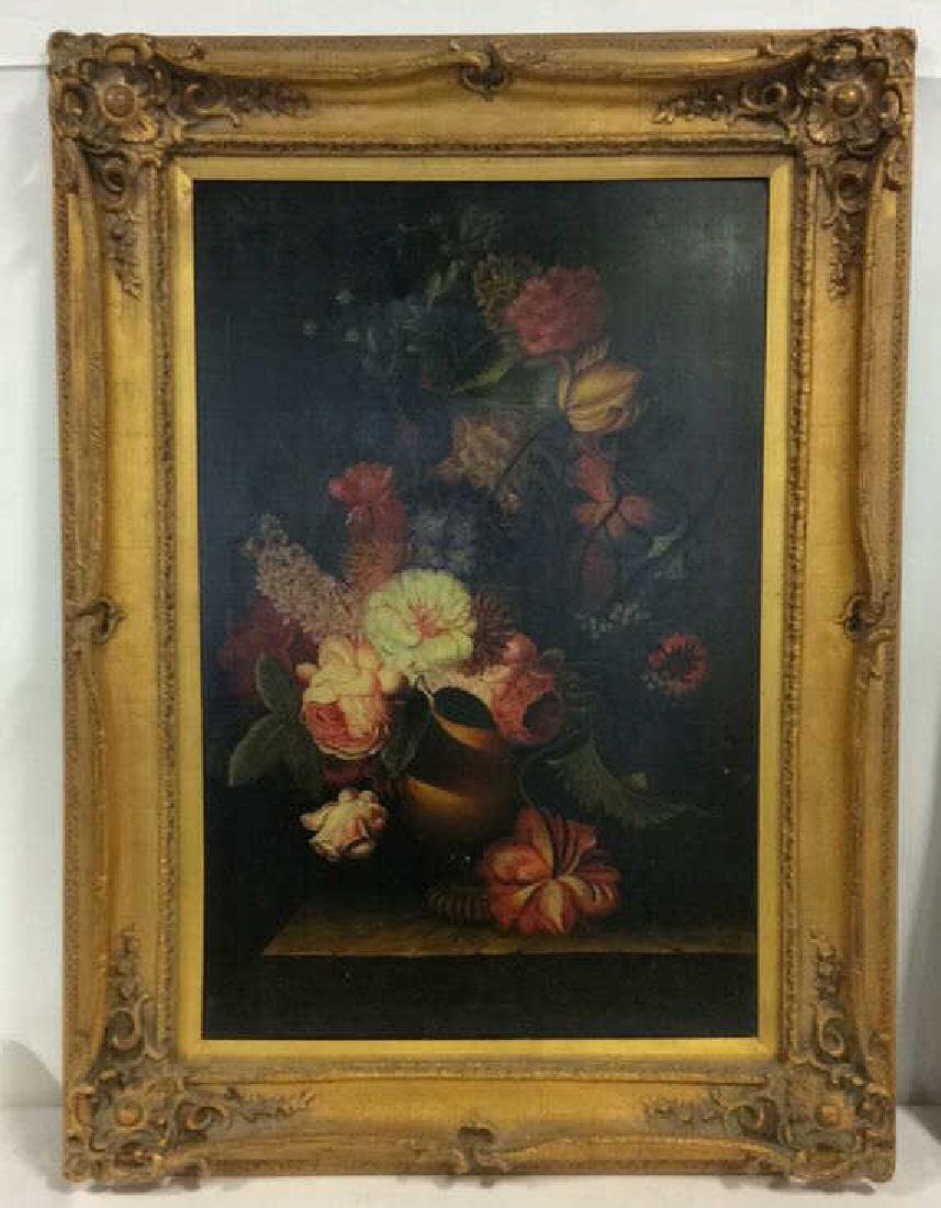 Framed Floral Still Life Print On Canvas W Glaze