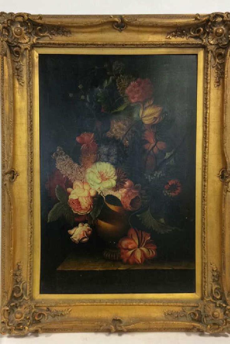 Framed Floral Still Life Print On Canvas W Glaze - 2