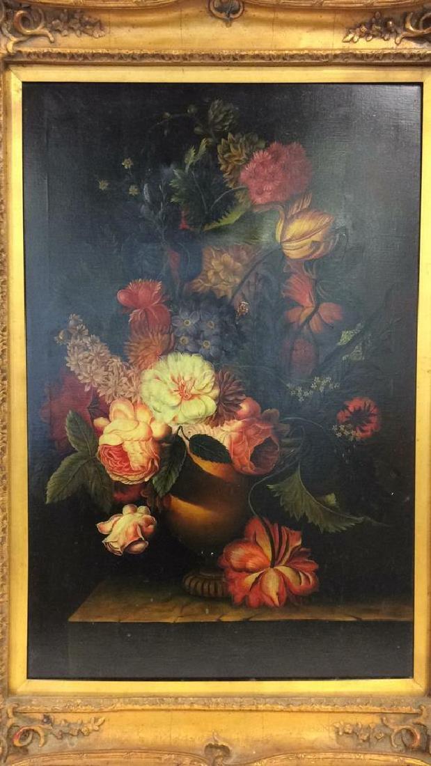 Framed Floral Still Life Print On Canvas W Glaze - 3