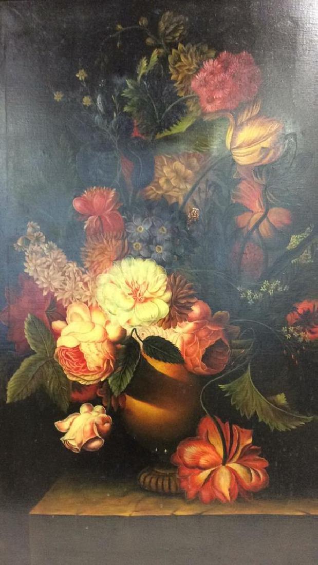 Framed Floral Still Life Print On Canvas W Glaze - 4