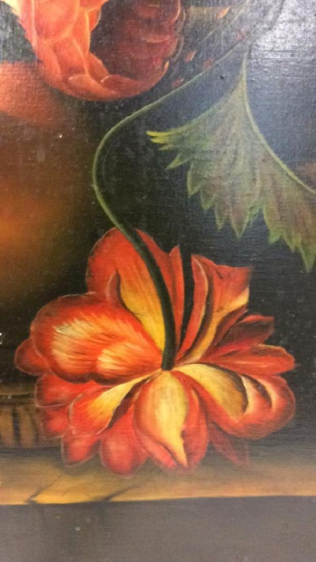 Framed Floral Still Life Print On Canvas W Glaze - 5