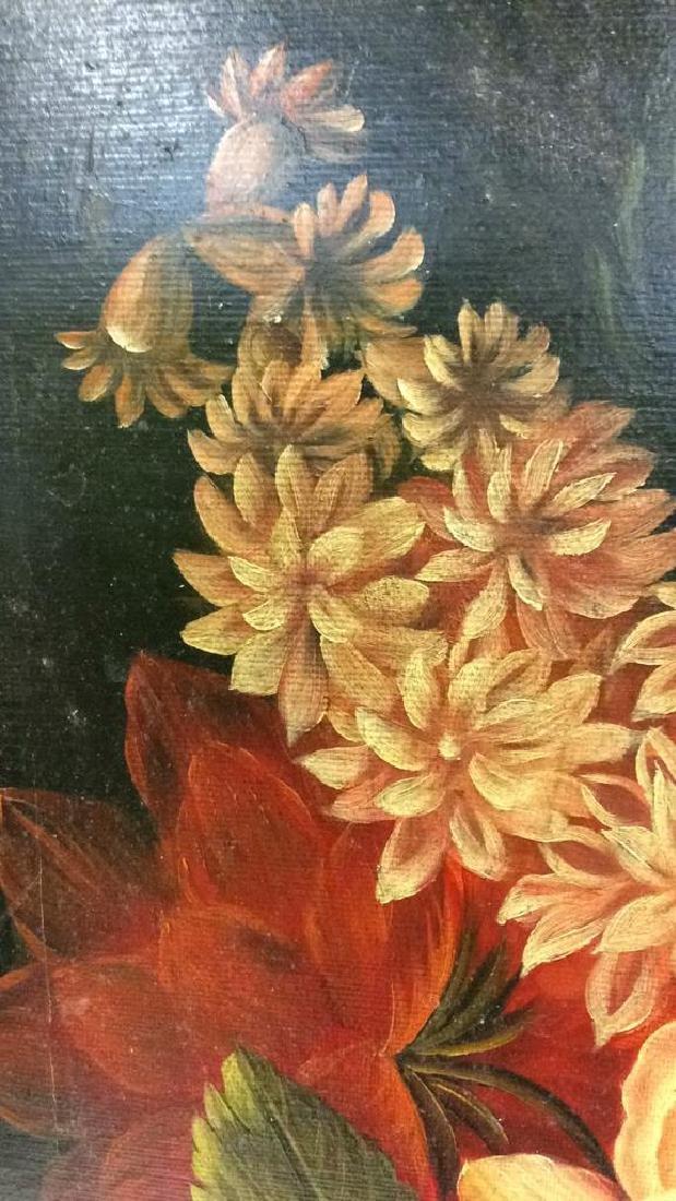 Framed Floral Still Life Print On Canvas W Glaze - 7