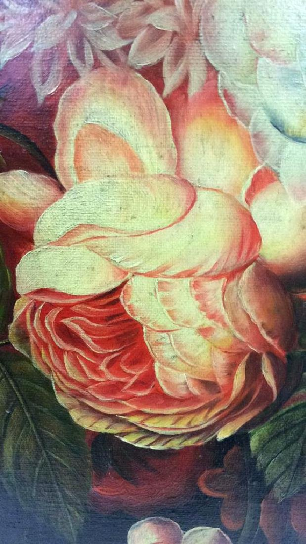 Framed Floral Still Life Print On Canvas W Glaze - 8