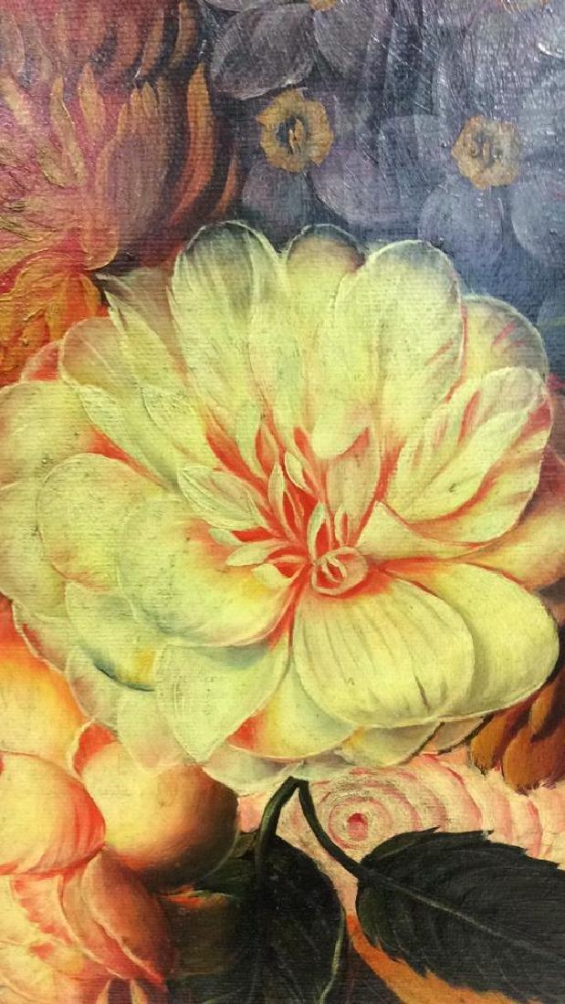 Framed Floral Still Life Print On Canvas W Glaze - 9