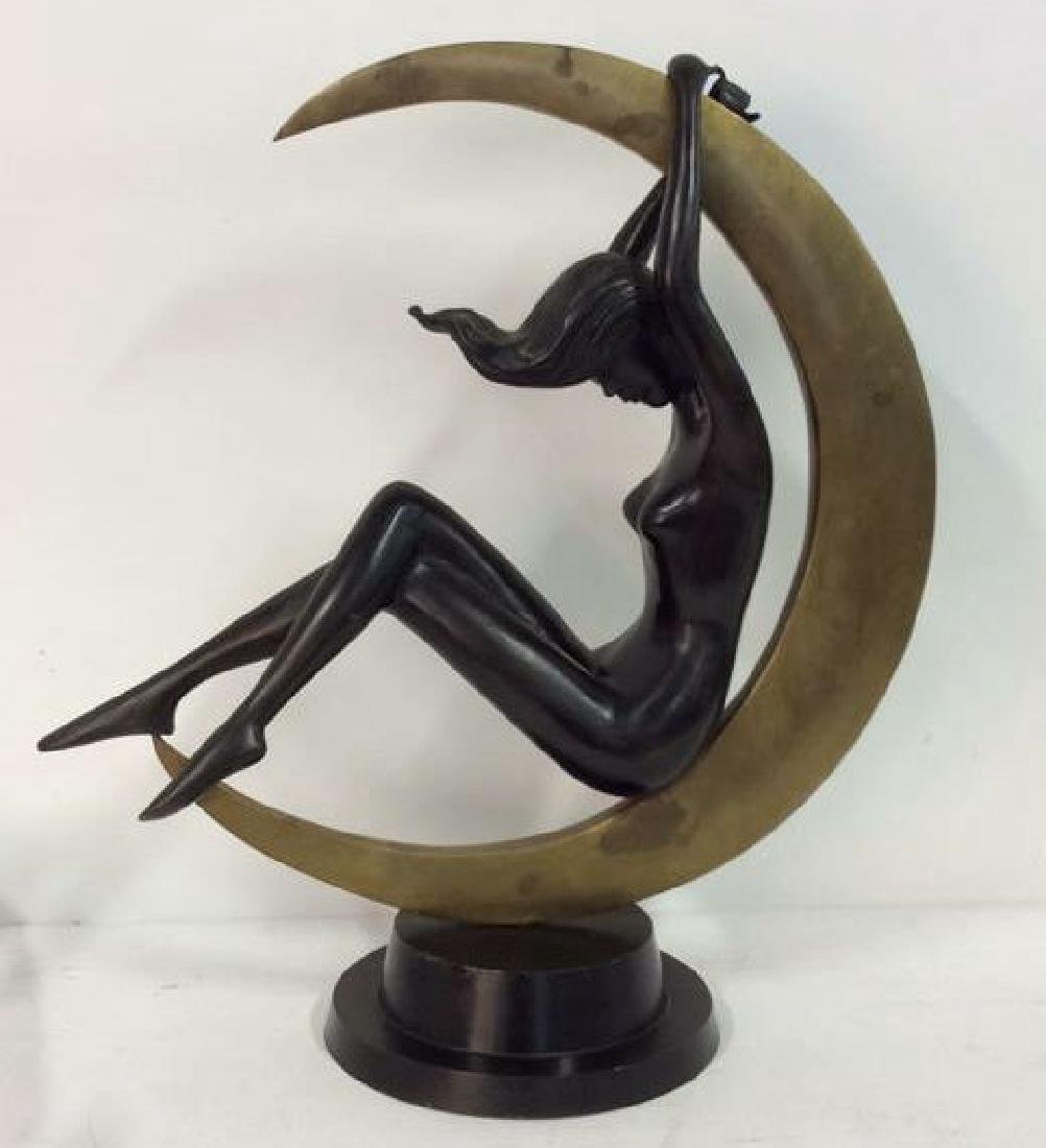 Bronze Art Deco Female in Moon Sculpture Statuette