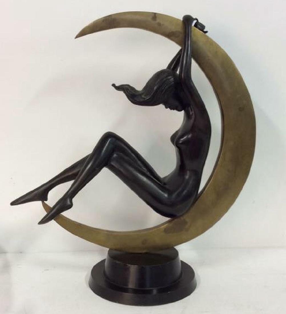 Bronze Art Deco Female in Moon Sculpture Statuette