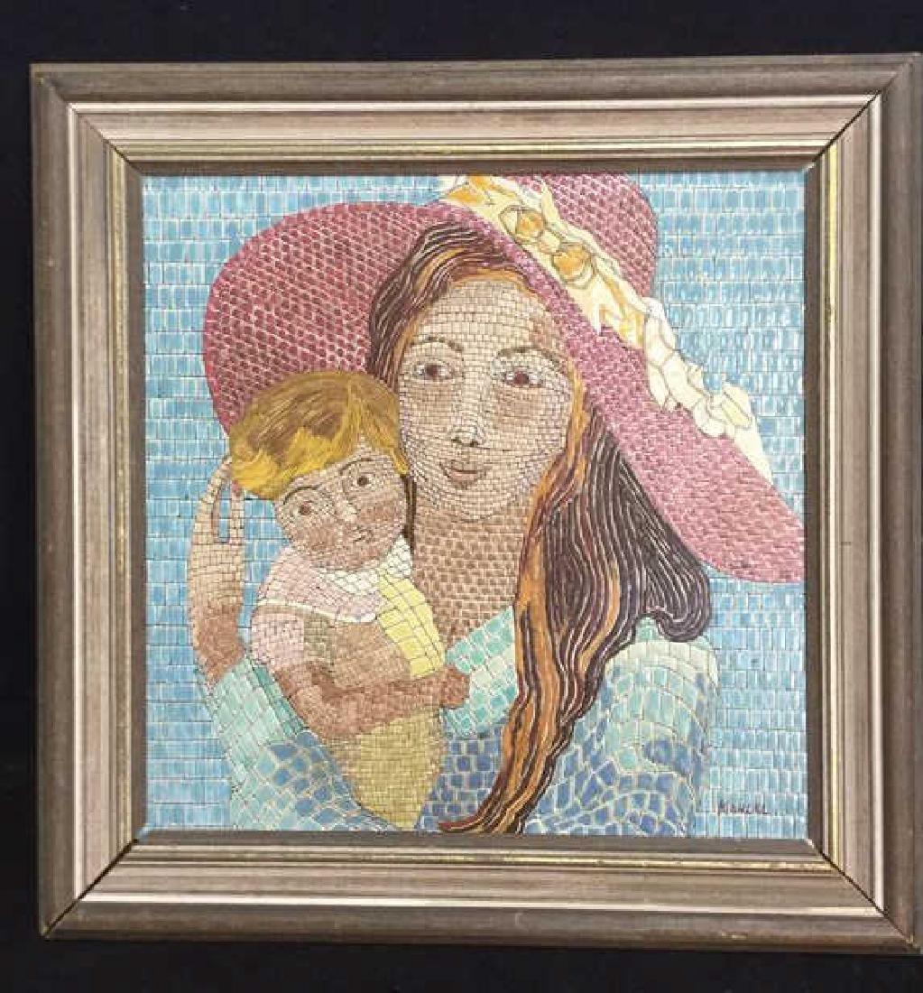 Vintage Tile Art Mosaic By Lucia Leibsohn Kandel