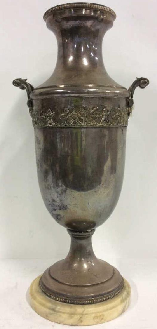 Large Thick Silver Pl Vase Intricate Detail France