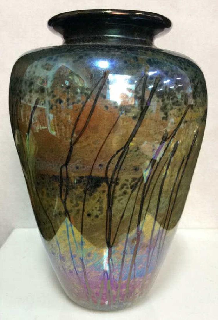 Multi Colored HandCraftedIridescent Art Glass Vase
