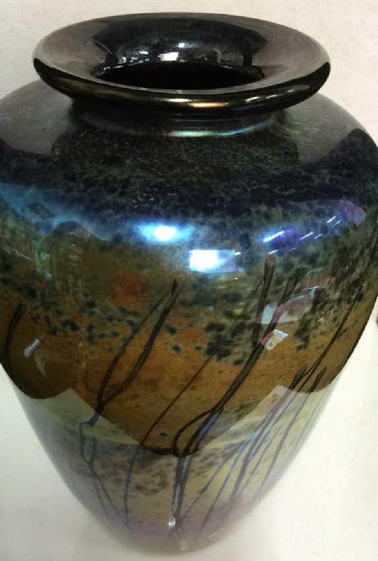 Multi Colored HandCraftedIridescent Art Glass Vase - 2