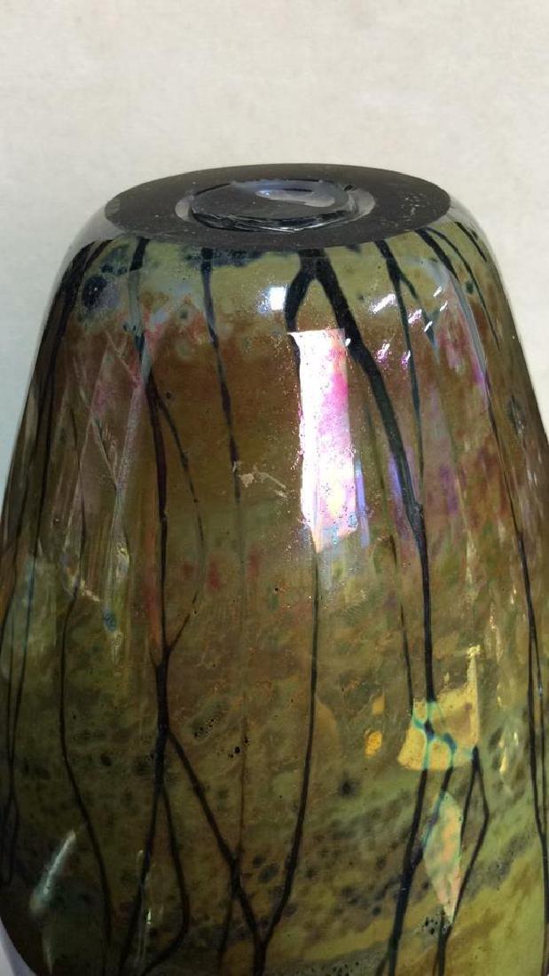 Multi Colored HandCraftedIridescent Art Glass Vase - 9