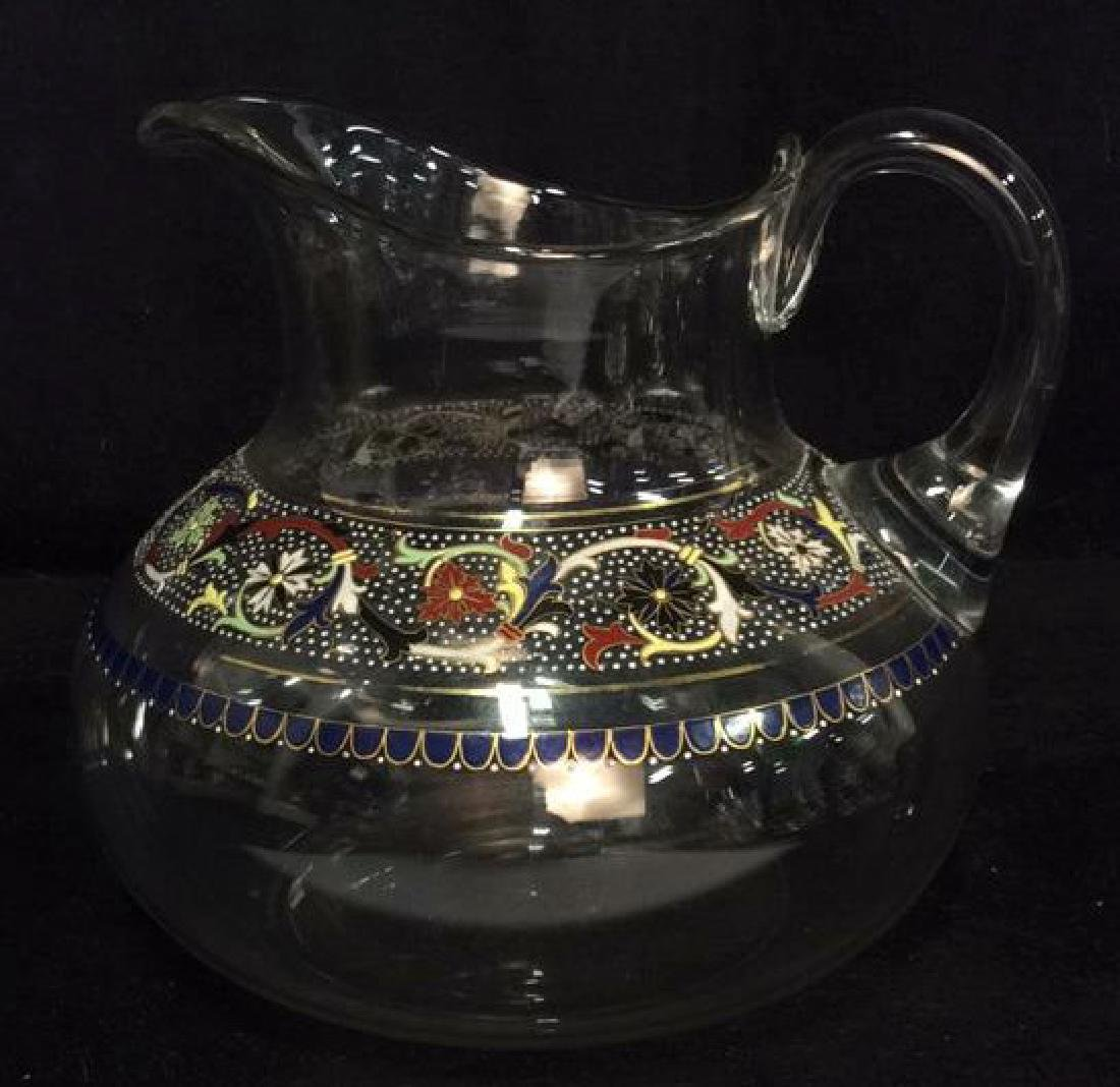 Floral Filigree Enamel Glass Pitcher
