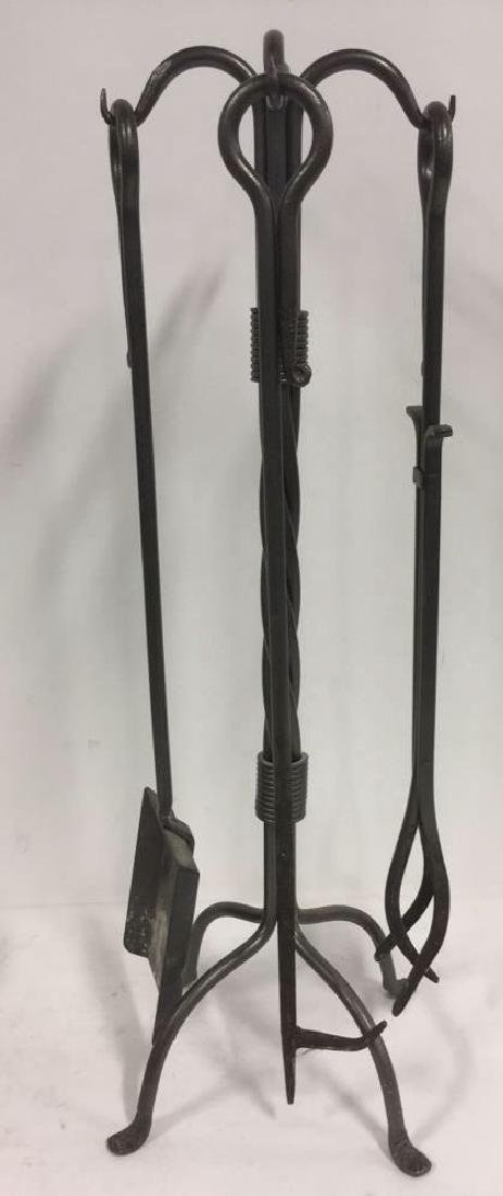 Lot 4 Cast Iron Hand Forged Fireplace Tool Set.