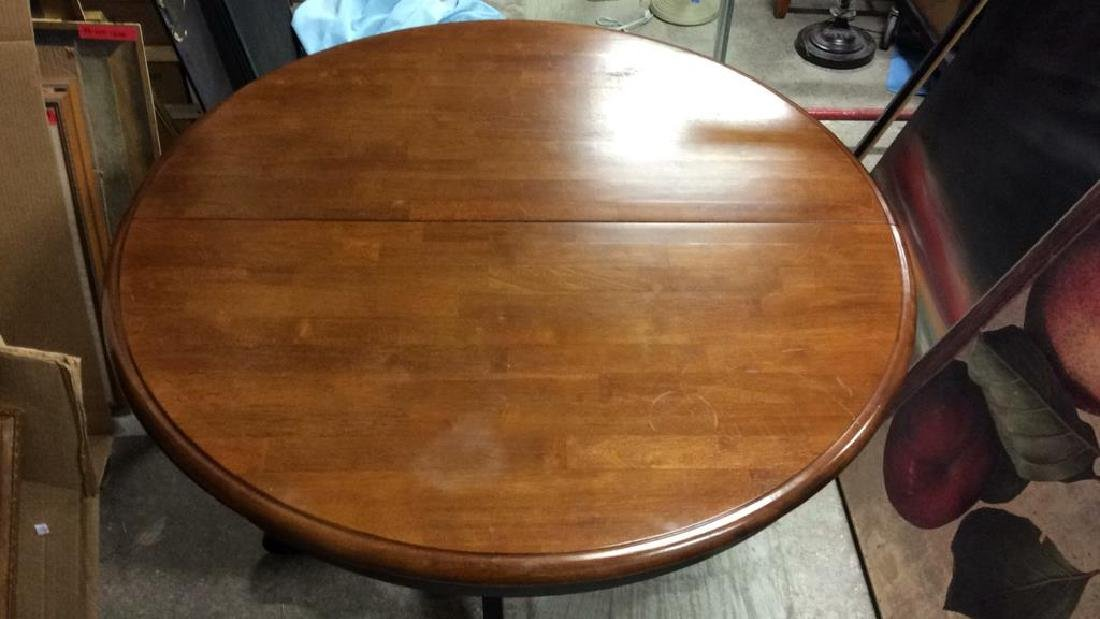 Round Wooden Single Pedestal Dining Table - 4