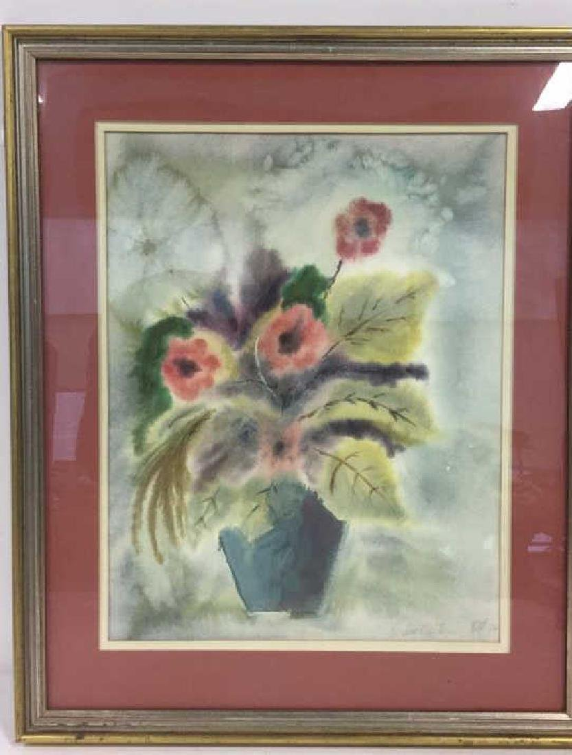 Framed And Matted Floral Watercolor Painting