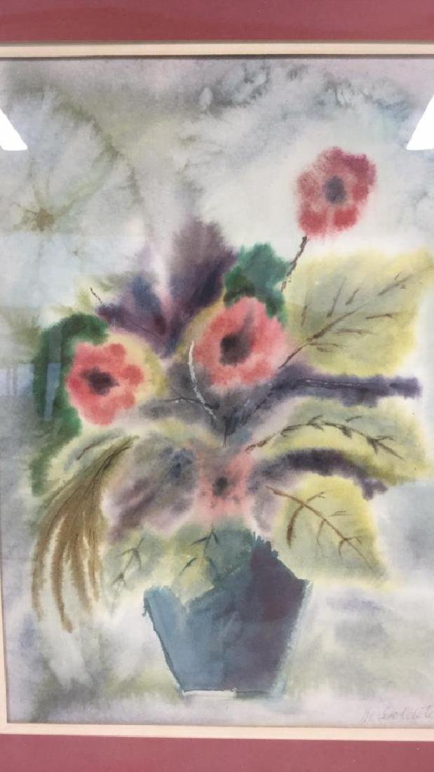 Framed And Matted Floral Watercolor Painting - 2