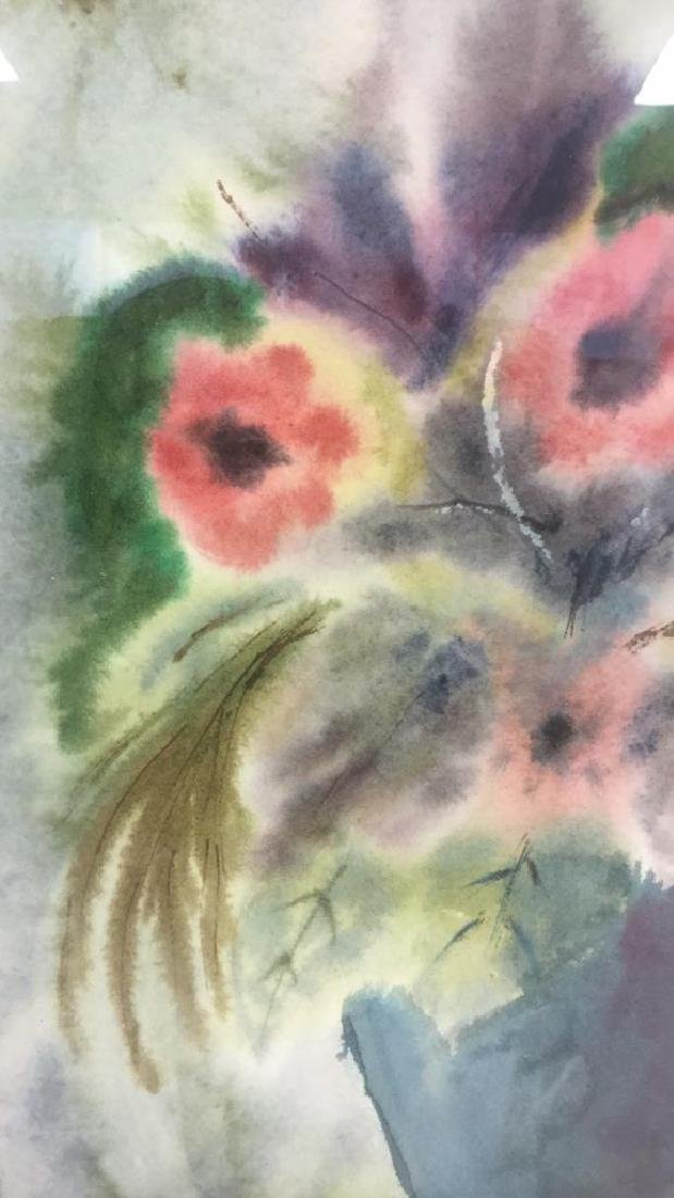 Framed And Matted Floral Watercolor Painting - 4