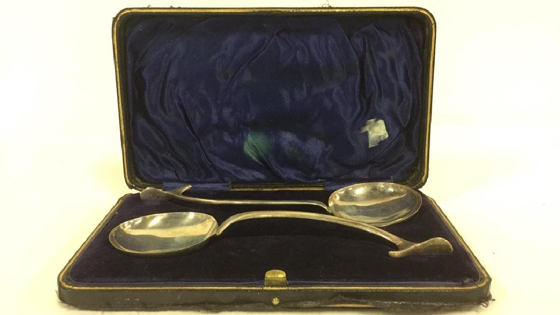 Pair Sterling Silver English Serving Spoons W Box - 2