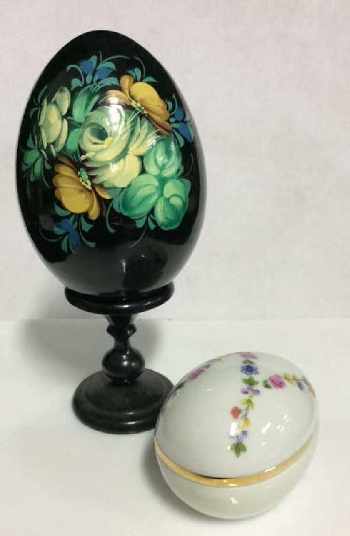 Lot 2 Decorative Painted Eggs, Limoges France and
