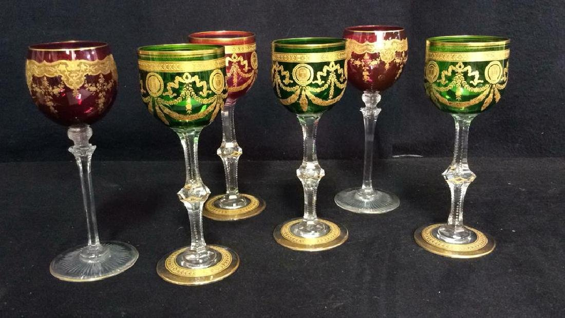Set 6 Bohemia Cut Crystal Colored Wine Glasses
