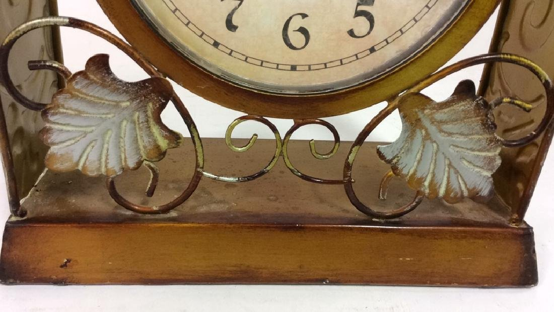 ELEMENTS Brown Metal Leaf Tabletop Clock - 10