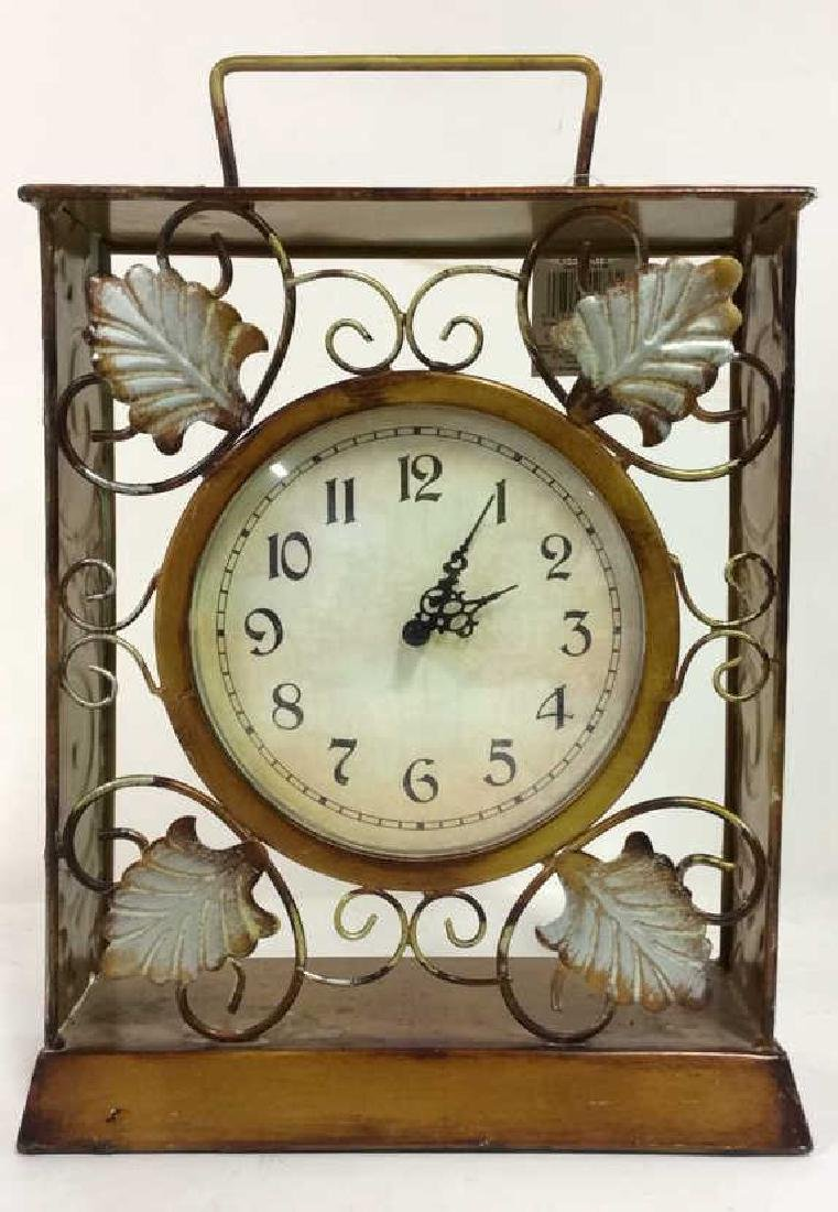 ELEMENTS Brown Metal Leaf Tabletop Clock